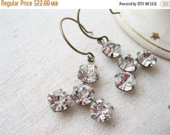 SALE Vintage Style Bridal Earrings.  Rhinestone Dangles, Old Hollywood Glam, Crystal Clear, Antique Brass, Holiday Jewellery