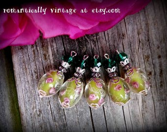 Beaded, Charms, Handmade, Natural, Shabby Chic, Embellishments, Vintage Inspired, Earrings