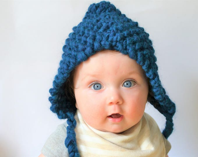 Curasao BlueChunky Knit Baby Bonnet | Knitted Baby Bonnet | Baby Bonnet | Blue Wool Baby Bonnet