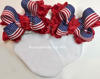 Patriotic Socks, US Flag Bow Socks, Red White Blue Ruffle Socks, Baby Girls Toddler Accessory, Little Miss Pageants, Infant July 4th Socks