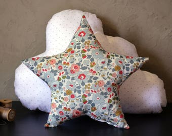 Set of 2 decorative pillows baby child star Liberty Betsy and silver polka dots & clouds