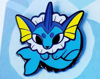 VAPOREON ENAMEL PIN. Eevee Evolution Vaporeon Lapel Pin. Water Type Eeveelution Pin.