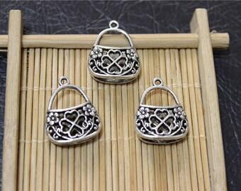 10 charms antique silver purse pendant