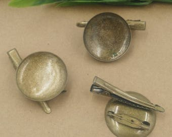 20 pcs brooch and hair clip double-use bezel blanks brass base bronze tone