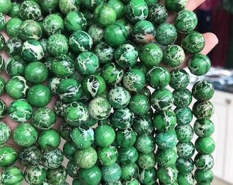 48 pearls Jasper Terra Aqua Green 8mm round