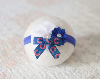 Chicago Cubs Headband, Chicago Cubs Baby Headband, Chicago Cubs Newborn Headband, Great Baby Photo Prop