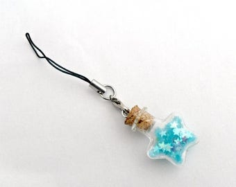 ON SALE Fairy Kei Glitter Wishing Stars Bottle Phone Charm, For iPhone or iPod, Dust Plug or Cell Phone Strap, Cute, Kawaii :D