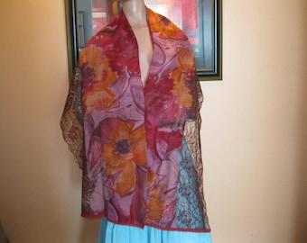"scarf/women scarf - lace and fabric - pattern ""liliana"""