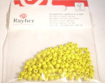Wood beads polished yellow 4mm Rayher pouch