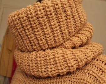 Large camel Snood can be worn over the head or double acrylic yarn - hand made-sides