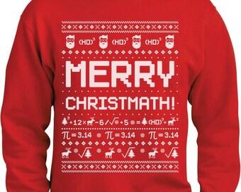 Merry Christmath Funny Math Ugly Christmas Sweater Sweatshirt