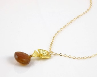 gold flower necklace with chocolate gemstone drop - anniversary gifts for her - wedding anniversary gifts for women's pendant