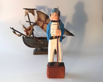 Vintage Carved Wood Sailor