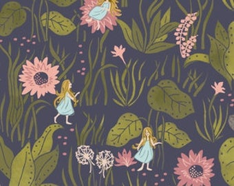 Baby Bedding Crib Bedding - Thumbelina, Floral, Navy, - Baby Blanket, Crib Sheet, Crib Skirt, Changing Pad Cover, Boppy Cover