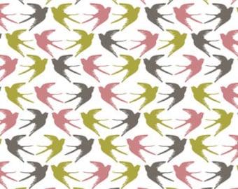 Baby Bedding Crib Bedding - Swallows, Birds, Pink, Gray, Gold - Baby Blanket, Crib Sheet, Crib Skirt, Changing Pad Cover, Boppy Cover