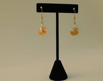 Glass Duck and Pearl Earring