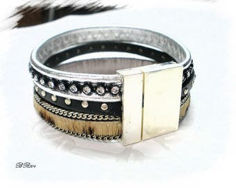 leather Stud and rhinestone Cuff Bracelet * BR804