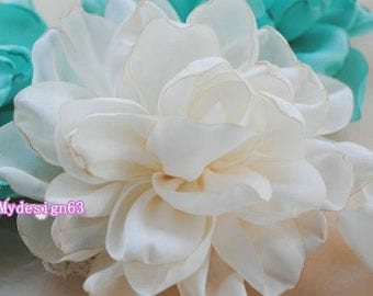 24 Larger Handmade Singed Flower  (3.5 inches) In Cream, off white MY-400-01 Ready To Ship