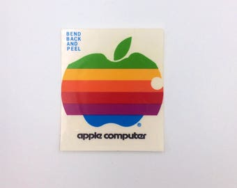 "Vintage Apple Computer Rainbow Logo Sticker 2x2"""