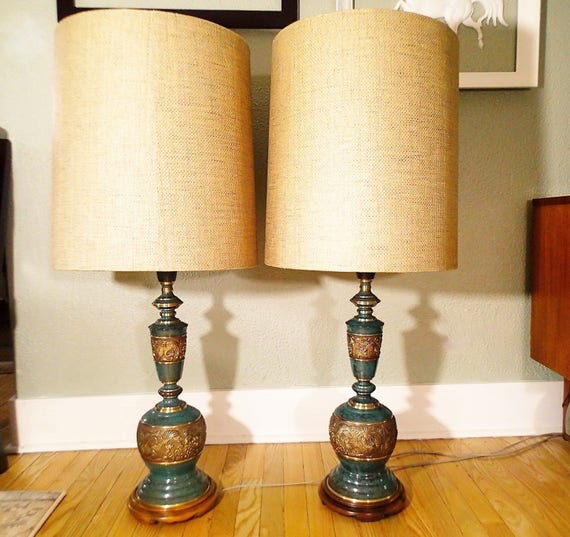 Pair of asian inspired brass lamps the style of james mont like this item aloadofball Image collections