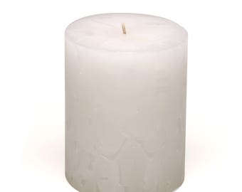 Cosmic Candles White Chunk Pillar Unscented 3x4