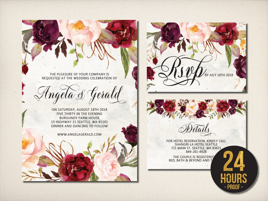 Wedding Invitation, Maroon Roses Script Invitation, Elegant Burgundy ...