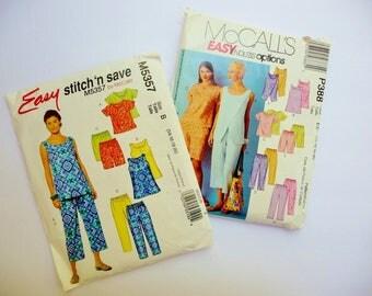 Misses Summer Wardrobe Lot 2 Capri Crop Pants, Shorts, Tops EASY McCalls 5357 P 388 Sizes 14 16 18 20 UNCUT