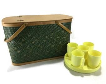 Vintage Picnic Basket * Hawkeye Diamond Weave Hamper and Dinnerware Set