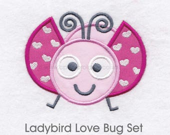 Ladybird Ladybug Love Bug Set of 4 Size machine Embroidery Download Design