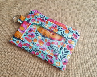 ID Wallet / Keychain Wallet / ID Holder in Beautiful Fox Print