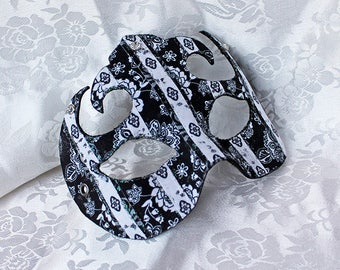 Black White Masquerade Mask, Black and White Floral Fabric and Leather Striped Eye Masquerade Ball Mask