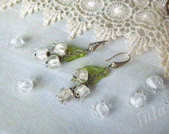 Lilies of the valley, May-lily, Glass flower, Jewelry lilies, Jewelry glass, Earrings lilies of the valley