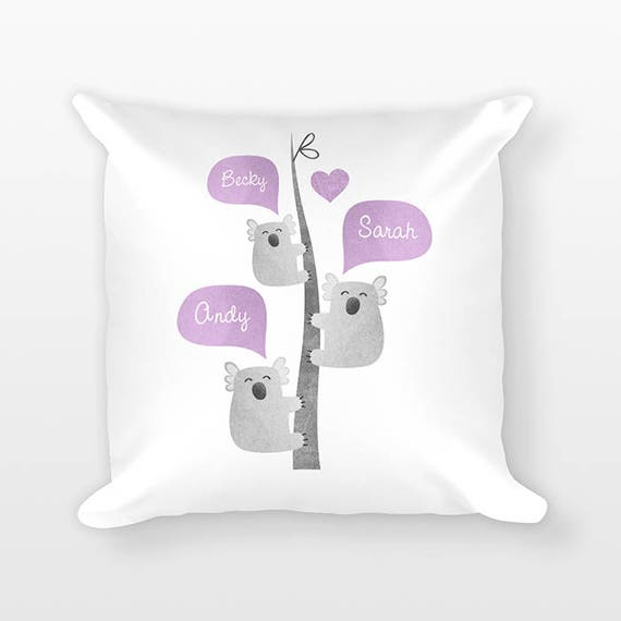 Koala Nursery Pillow Australian Nursery Decor Personalized Baby Gift Baby Shower Gift Pillow for Kids Room Decor Animal Nursery Throw Pillow