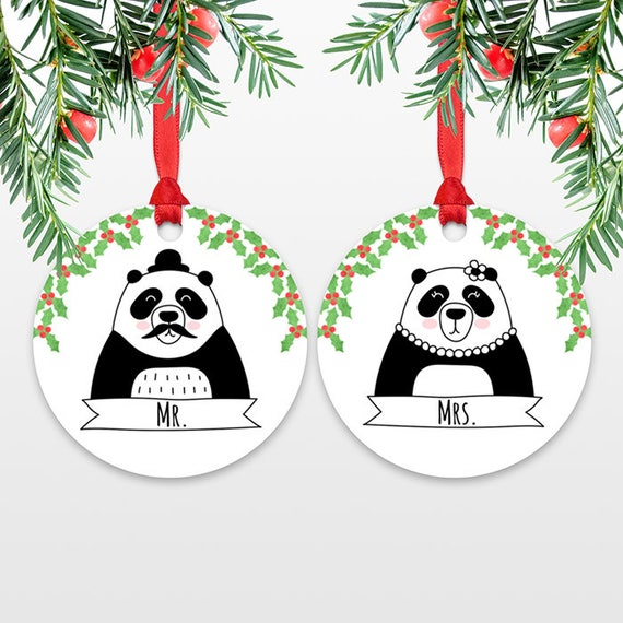 Mr and Mrs Panda Bear Couple Christmas Wedding Ornaments for Bride and Groom Engagement Ornaments Set Personalized Christmas Decorations