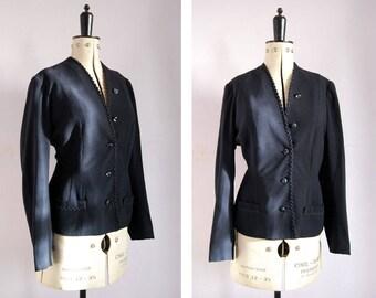 Vintage 1940s navy wool fitted jacket - 40s navy collarless jacket - WWII WW2 era jacket - Tailored jacket - 1940s blazer - Wool jacket