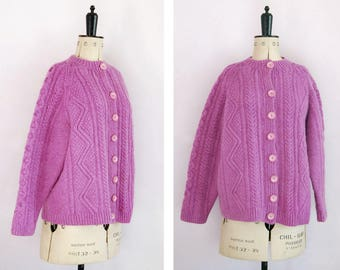 Vintage hand knit cable cropped wool mohair mauve purple cardigan - Cable knit jumper - Cable knit sweater - Hand knit wool cardigan