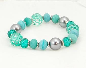 Turquoise and Gray Beaded Bracelet, Women's Accessories, Fashion Jewelry, Beaded Bracelet, Gift for Her, One of A Kind, One Size Fits Most