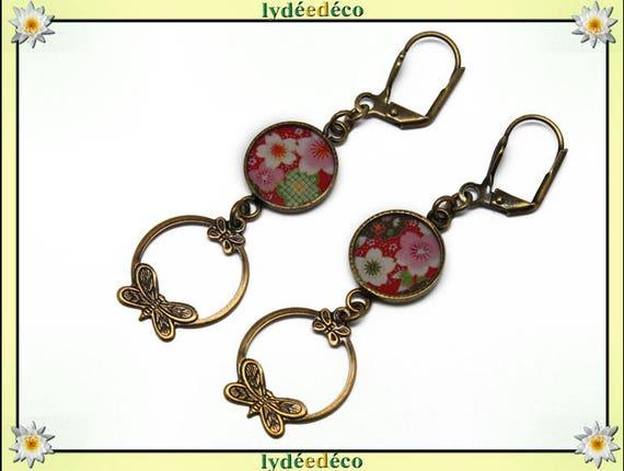 Earrings SAKURA Japan cherry tree flower pink red green white resin pendants print brass creole butterflies