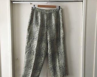 Silk snake skin print culottes