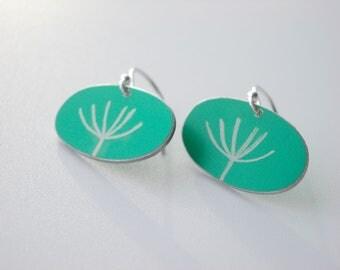 Dandelion seed earrings in jade and silver