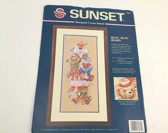 Busy Bear Kit, Cross stitch Kit, Sunset 13064, Busy Busy Bears, Cross Stitch Bear, Cross Stitch Pattern, Stamped Cross Stitch, Bear Picture