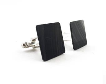 Vinyl Record Black Cufflinks | Silver toned | Alternative Wedding | Music Gift