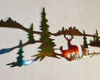 Whitetail Buck and Doe Wildlife Indoor & Outdoor Metal Wall Art