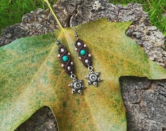 Brown tribal macrame earrings. Tribal macrame jewerly. Crisocola gemstones earrings