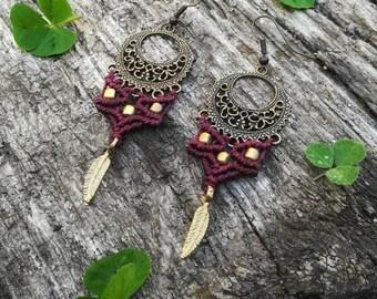 Burlesque gypsy tribal macrame earrings. Handmade macrame jewerly. Feather boho earrings