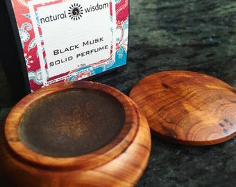 Black Musk Solid Perfume. Natural Perfume. Vegan, Gluten & Alcohol free. By Natural Wisdom