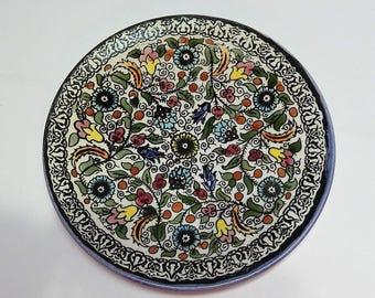"Vintage Decorative Floral Ceramic Plate, 8 1/2"" Diameter"