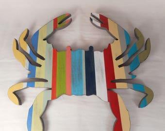 Wood crab wall decor / beach decor / nautical decor