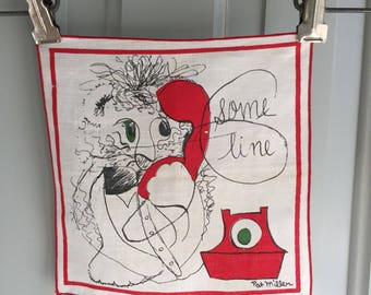 Vintage Pat Miller Cocktail Napkin, SOME LINE, Anthro Lion, British Telephone, Signed Textile, Red Green, Kooky Line Drawing, Square Linen