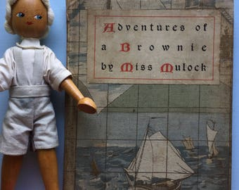 Adventures of a Brownie, Miss Mulock, Sweet 1898 Child Book, Vintage Christmas Calling Card, Fab Novelty Cloth Book Cover, Sailboats Dutch